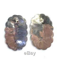 Navajo Handmade Sterling Silver Turquoise Cluster Earrings Martin Byjoe