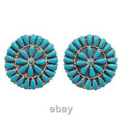 Navajo Handmade Sterling Silver Turquoise Cluster Earrings Mathilda Benally
