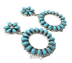 Navajo Handmade Sterling Silver Turquoise Cluster Post Earrings M Benally