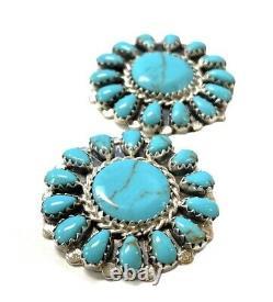 Navajo Handmade Sterling Silver Turquoise Cluster Post Earrings Mathilda B