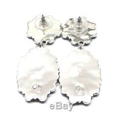Navajo Handmade Sterling Silver Turquoise Cluster Post Earrings- OM