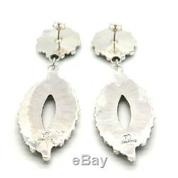 Navajo Handmade Sterling Silver Turquoise Cluster Post Earrings Tamara Benally