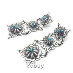 Navajo Handmade Sterling Silver Turquoise Concho Stamp Post Earrings R L