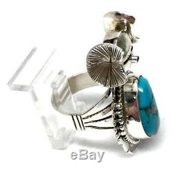 Navajo Handmade Sterling Silver Turquoise Dancer Ring Size 7.5 -Bennie Ration
