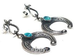 Navajo Handmade Sterling Silver Turquoise Earrings -B. Cayatineto