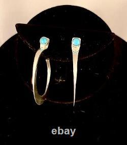 Navajo Handmade Sterling Silver & Turquoise Earrings by Edison Cummings