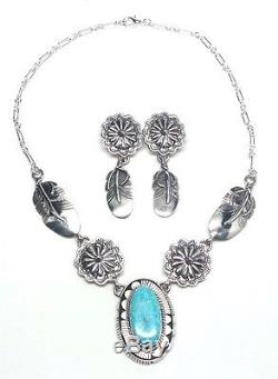 Navajo Handmade Sterling Silver Turquoise Necklace & Earring Set -Russell Sam