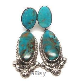 Navajo Handmade Sterling Silver Turquoise Post Earrings