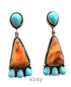 Navajo Handmade Sterling Silver Turquoise & Spiny Post Earrings Alice Gabby