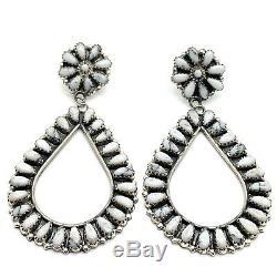 Navajo Handmade Sterling Silver White Buffalo Cluster Post Earrings By Mathilda