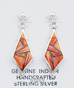 Navajo Handmade Sterling Silver with Inlay Earrings by Calvin Begay