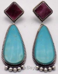 Navajo Handmade Turquoise & Spiny Oyster Earrings in Sterling Silver Betty Joe