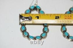 Navajo Hook Earrings With Green Nevada Turquoise, Sterling. Signed D W