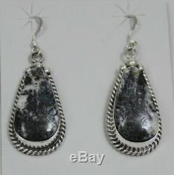 Navajo Indian Earrings 50% Off White Buffalo Turquoise Dangles Sterling Elouise