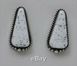 Navajo Indian Earrings 50% Off White Buffalo Turquoise Post Sterling Elouise Kee