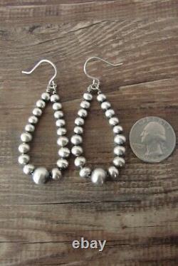 Navajo Indian Hand Beaded Desert Pearl Earrings by Mariano