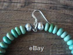 Navajo Indian Hand Beaded Green Turquoise and Desert Pearl Earrings by D. Jake