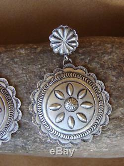 Navajo Indian Hand Stamped Sterling Silver Earrings! By Eugene Charley