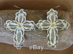 Navajo Indian Jewelry Handmade Sterling Silver Cross Earrings Tim Yazzie