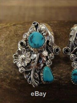 Navajo Indian Jewelry Sterling Silver Turquoise Floral Post Earrings! Yazzie