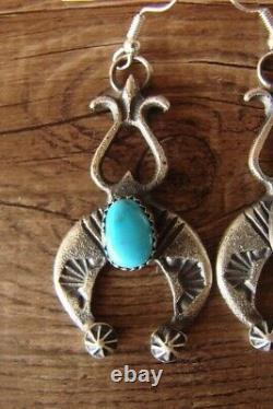 Navajo Indian Jewelry Sterling Silver Turquoise Naja Earrings! By Kevin Billah