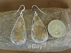 Navajo Indian Sterling Silver Boulder Turquoise Dangle Earrings! Signed