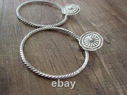 Navajo Indian Sterling Silver Concho Post Twisted Rope Hoop Earrings by Spencer