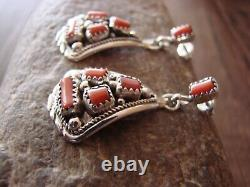 Navajo Indian Sterling Silver Coral Cluster Post Earrings! By MC