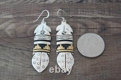 Navajo Indian Sterling Silver Gold Fill Feather Earrings T&R Singer