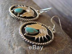 Navajo Indian Sterling Silver Horse Turquoise Earrings G. Francisco