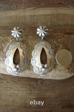 Navajo Indian Sterling Silver Stamped Post Earrings by Rita Lee