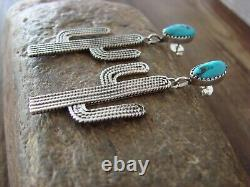 Navajo Indian Sterling Silver Turquoise Cactus Post Earrings by Spencer