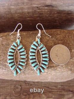 Navajo Indian Sterling Silver Turquoise Cluster Dangle Earrings! Benally