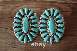 Navajo Indian Sterling Silver Turquoise Cluster Post Earrings! Benally