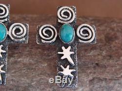 Navajo Indian Sterling Silver Turquoise Cross Petroglyph Earrings Alex Sanchez