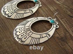 Navajo Indian Sterling Silver Turquoise Dangle Earrings by T&R Singer