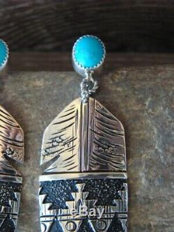 Navajo Indian Sterling Silver Turquoise Feather Post Earrings by Richard Singer