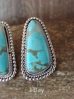 Navajo Indian Sterling Silver Turquoise Post Earrings Martinez