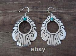 Navajo Indian Sterling Silver Turquoise Stamped Dangle Earrings T&R Singer
