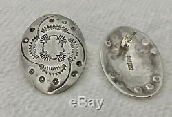 Navajo Native American Sterling Silver Concho Earrings Vintage, Superior Quality