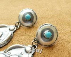 Navajo Old Style Repousse Sterling Silver Turquoise Large Concho Drop Earrings