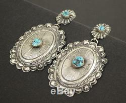 Navajo Old Style Sterling Silver Kingman Turquoise Large Oval Concho Earrings