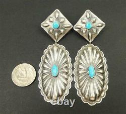 Navajo Old Style Sterling Silver Turquoise Large Oval Concho Statement Earrings