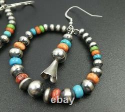 Navajo Pearl Multi Stone Bead Sterling Silver Large Hoop Earrings Squash Blossom