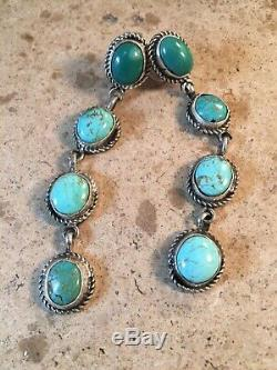 Navajo Royston Turquoise And Sterling Silver Dangle Earrings Signed