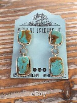 Navajo Royston Turquoise & Sterling Silver Dangle Earrings Signed