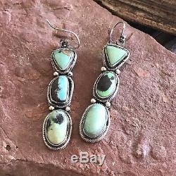 Navajo Royston Turquoise & Sterling Silver Dangles Signed