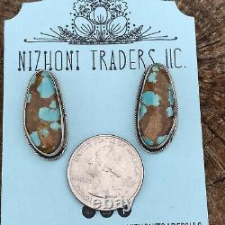 Navajo Royston Turquoise & Sterling Silver Stud Earrings Stamped