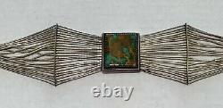Navajo Royston Turquoise and Sterling Silver Liquid Silver Choker