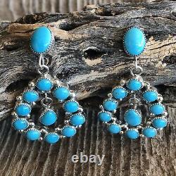 Navajo Sleeping Beauty Turquoise Sterling Silver Dangle Earrings